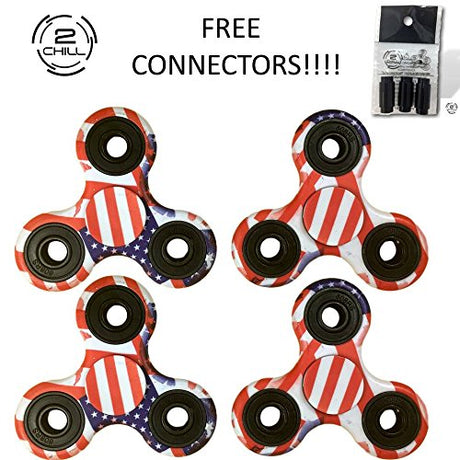 4 USA Flag Fidget Spinners + 3 Free Connectors