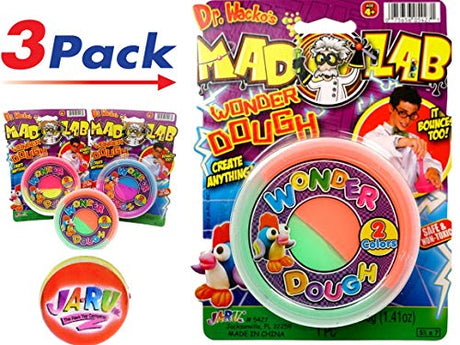 Mad Lab Wonder Dough & Bouncing Ball by Ja-Ru - Pack of 3