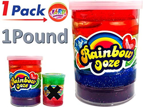 Mega Rainbow Slime Ooze 1 Pound & one Bouncy Ball by Ja-Ru - Pack of 1
