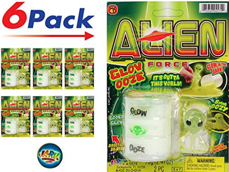 Alien Glow in The Dark Slime (Pack of 6)