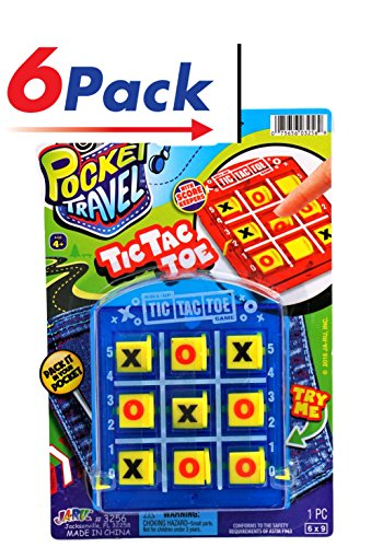Pocket Travel Tic Tac Toe by JA-RU Pack of 6