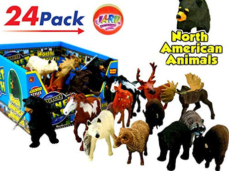 North American Animals Realistic Looking & Bouncy Ball Bundle (Display Box with 24)