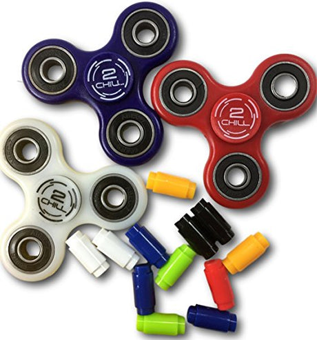 3 Fidget Spinner get 3 FREE Connectors - White GITDark & US Flag colors