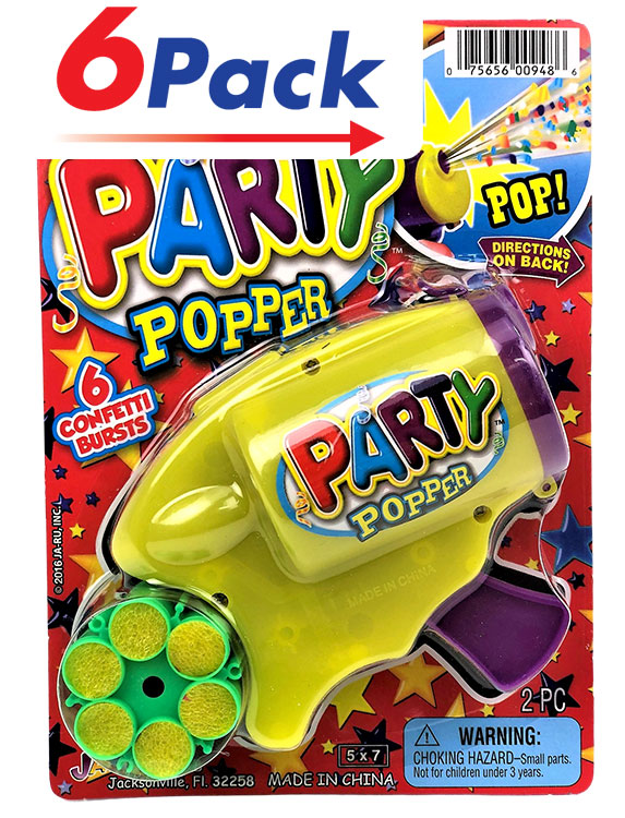 Party Popper - Confetti Shooting Toy - Pack of 6