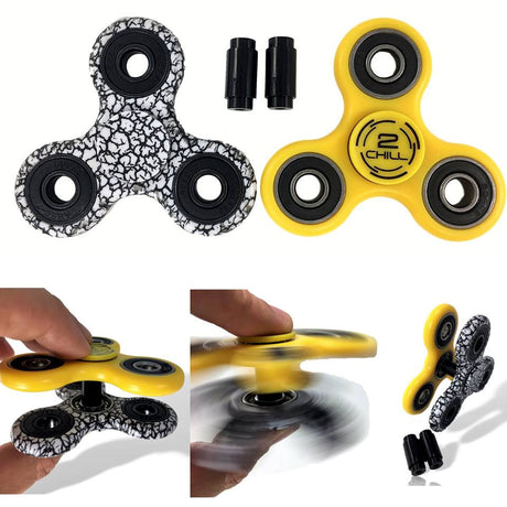 2 Fidget Spinners & 2 Connectors - Yellow & Zebra