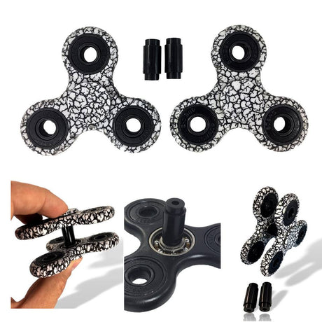 2 Fidget Spinners & 2 Connectors - Zebra