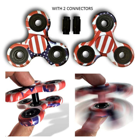 2 Fidget Spinners & 2 Connectors USA Flag