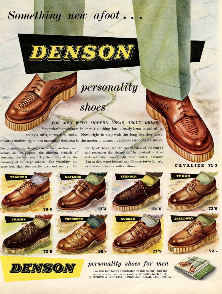Denson 1951 launch advert - featuring range of brothel creepers