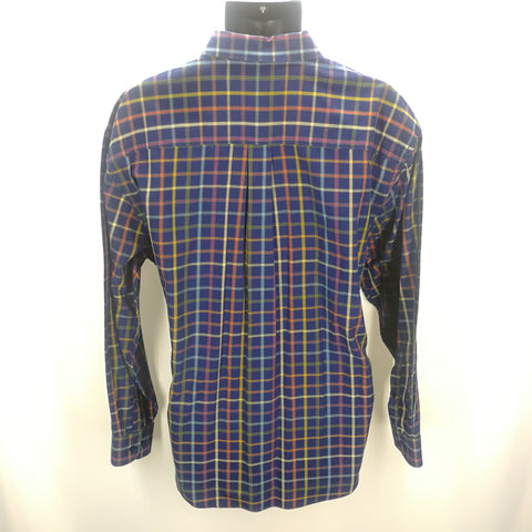 Alan Flusser Navy Multi-Colored Plaid Top Size XL,Tops,Alan Flusser,Around Again Inc