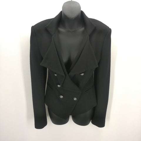 Ann Taylor Black Wool Drape Double Breasted Jacket Size 6,Jackets,Ann Taylor,Around Again Inc