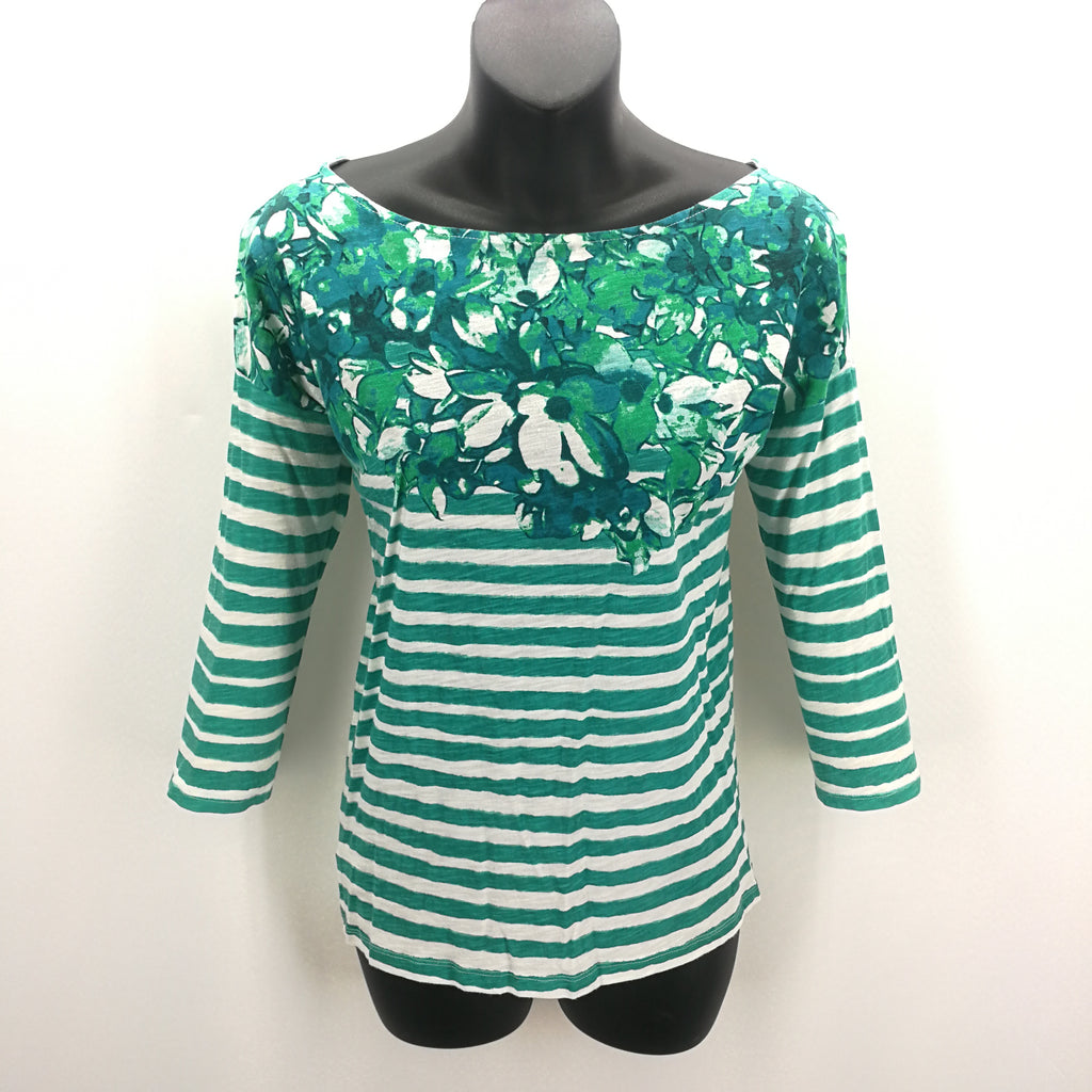 Ann Taylor Loft Green White Striped Floral Top Size Small,Tops,Ann Taylor LOFT,Around Again Inc