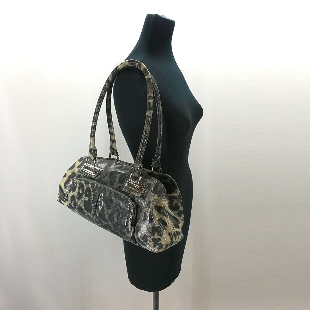 B Makowsky Grey Leopard Print Leather Satchel Purse,Handbag,B Makowsky,Around Again Inc