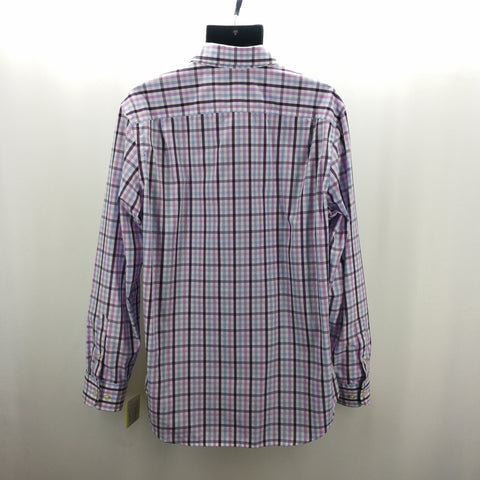 Banana Republic Plum Purple White Plaid Slim Fit Top Size Large 16-16.5,Tops,Brooks Brothers,Around Again Inc