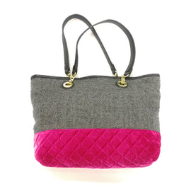 Betsey Johnson Grey Pink Tweed Tote Bag Purse,Handbag,Betsey Johnson,Around Again Inc