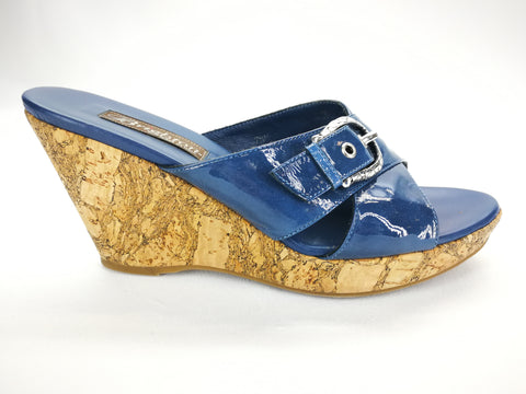 Brighton SUMMER Denim Blue Silver Buckle Cork Wedge Slides Size 7.5,Shoes,Brighton,Around Again Inc