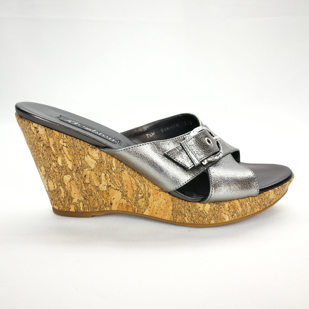Brighton SUMMER Metallic Platinum Silver Buckle Cork Wegde Slides Size 7.5,Shoes,Brighton,Around Again Inc