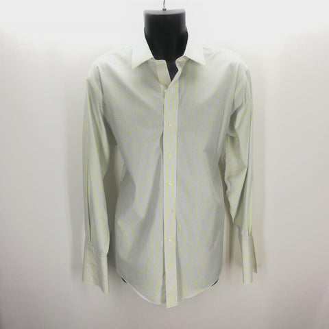 Brooks Brothers Yellow Blue White Striped Slim Fit French Cuff Top 16.5 33,Tops,Brooks Brothers,Around Again Inc