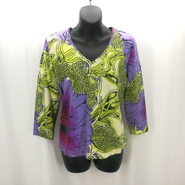 Chico's Lime Grape Floral Print Top Size Medium (1),Tops,Chico's,Around Again Inc