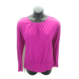 Chico's Raspberry Gathered-Neck Top Size Large (2),Tops,Chico's,Around Again Inc