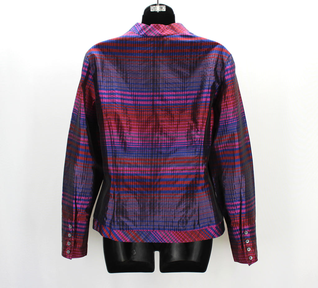 Coldwater Creek Fuchsia Navy Plaid Zip Front Top Medium,Tops,Coldwater Creek,Around Again Inc