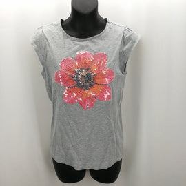 Crazy 8 Gray Sequined Flower Shirt Size XL (14),Tops,Crazy 8,Around Again Inc
