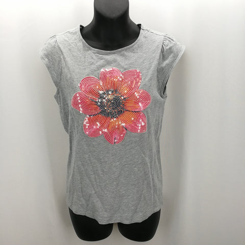 Crazy 8 Grey Sequined Flower Shirt Size XL (14) - Around Again Inc