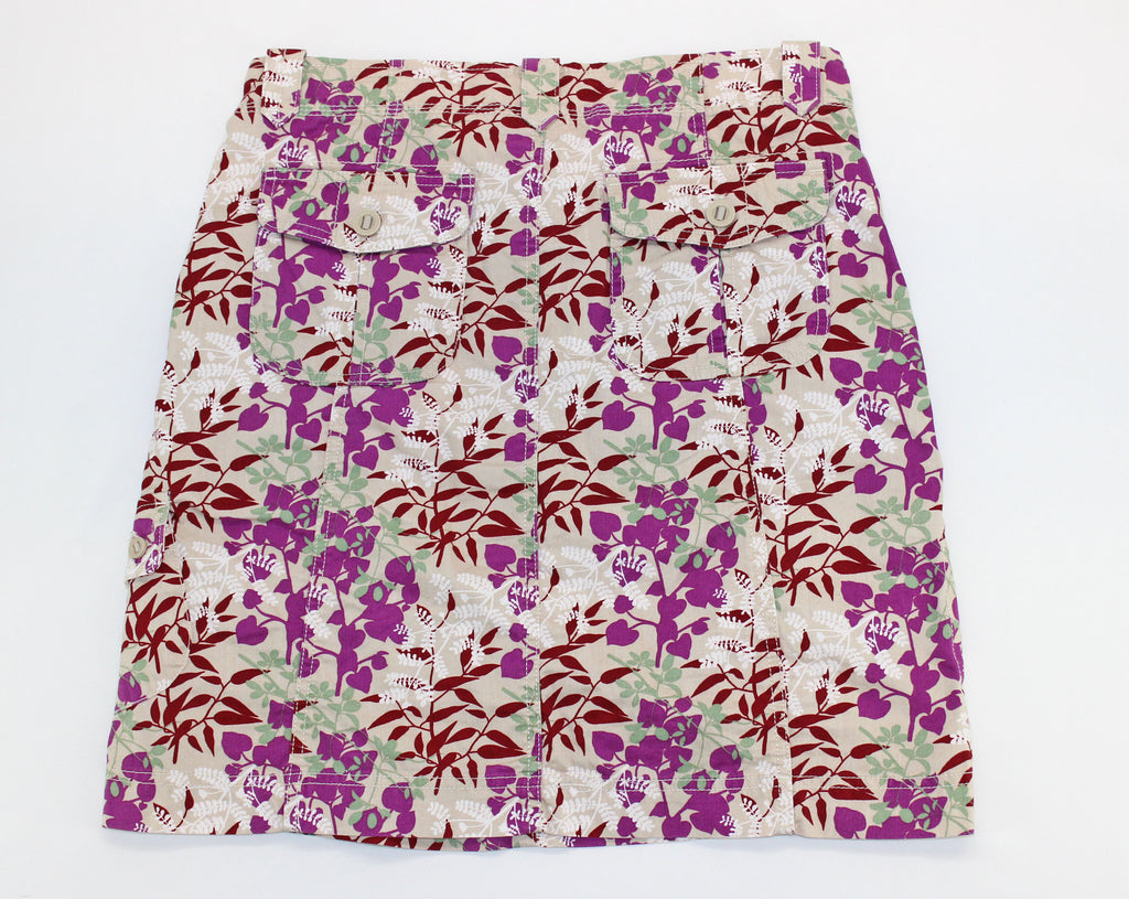 Eddie Bauer Khaki & Raspberry Floral Skirt Size 8 - Around Again Inc