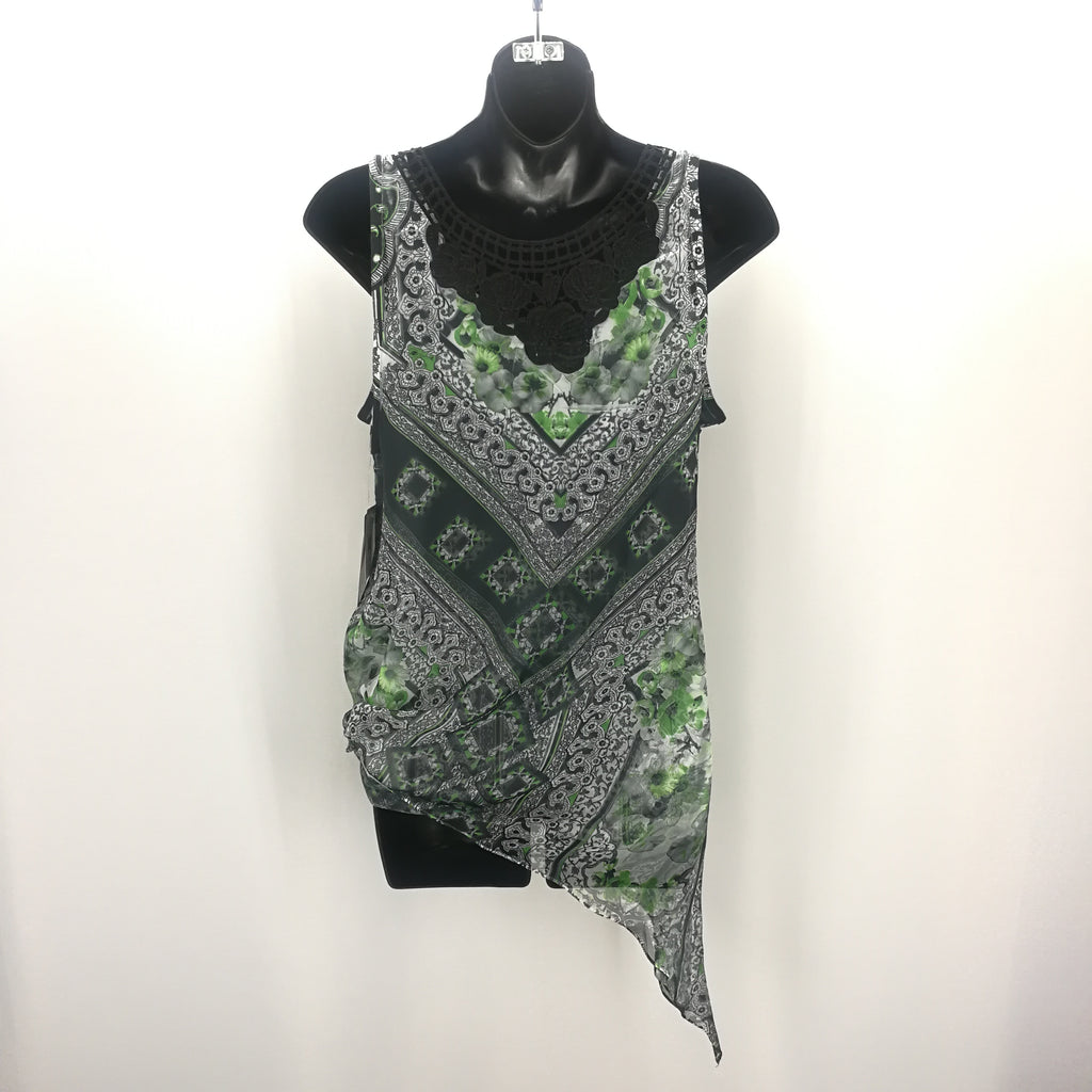 Energe World Wear Green Black Overlay Tank Top Size Medium,Tops,Energe World Wear,Around Again Inc