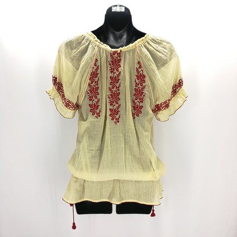 Foreat Anthropologie Ivory & Red Embroidered Peasant Top Size 4,Tops,Floreat,Around Again Inc