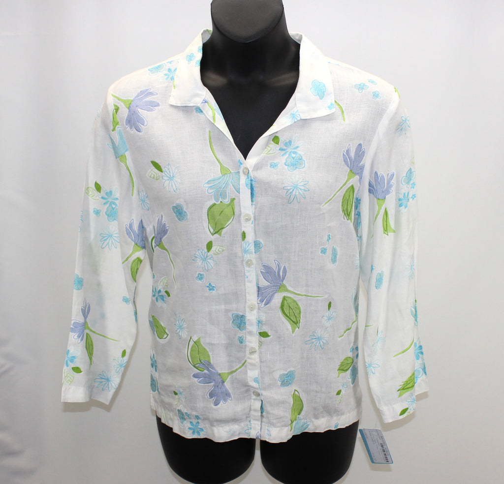 Fresh Produce White Blue Green Floral Linen Blouse Size Large - Around Again Inc