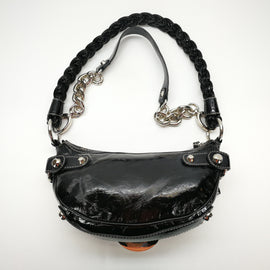 Guess Black & Silver Patent Leather Cliutch Hobo Purse,Handbag,Guess,Around Again Inc