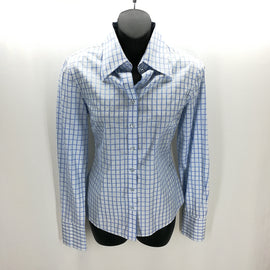 Hawes & Curtis Blue & White Plaid Button Down Semi Fitted Top Size 8,Tops,Hawes & Curtis,Around Again Inc