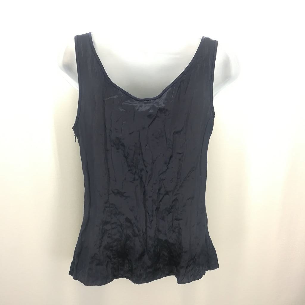 J Crew Navy Crinkled Silk Blend Tank Top Size 6,Tops,J Crew,Around Again Inc