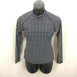 J Crew Navy Ivory Dotted Rash Guard Swim Top Size XL,Swimwear,J Crew,Around Again Inc