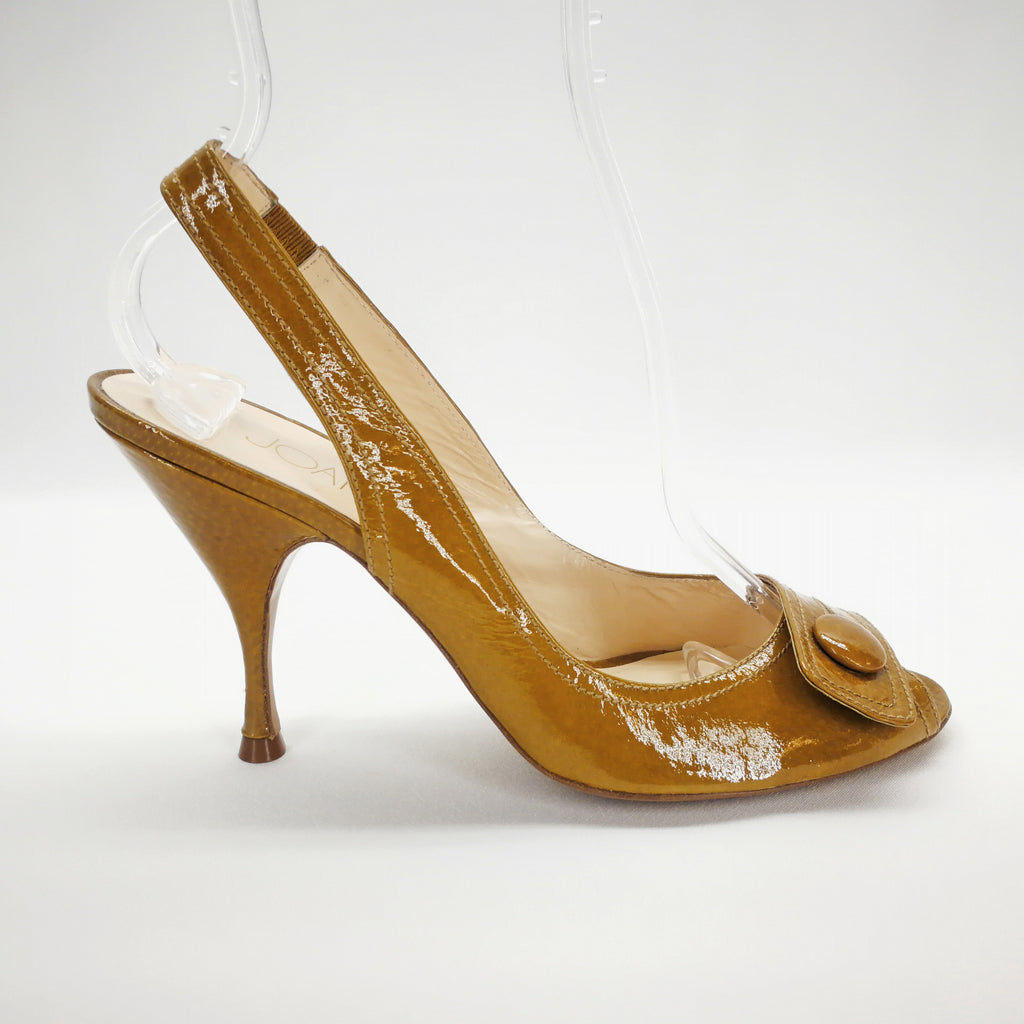 Joan & David Tan Patent Peep Toe Sling Heels Size 8.5,Shoes,Joan & David,Around Again Inc