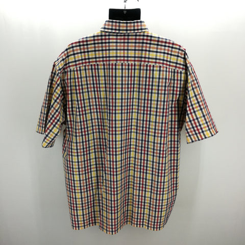 Jos A Bank Navy Gold Red Plaid Top Size X-Large,Tops,Jos A Bank,Around Again Inc