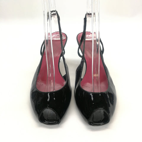 Kate Spade Black Patent Peep Toe Slingbacks Made in Italy Size 8.5,Shoes,Kate Spade,Around Again Inc