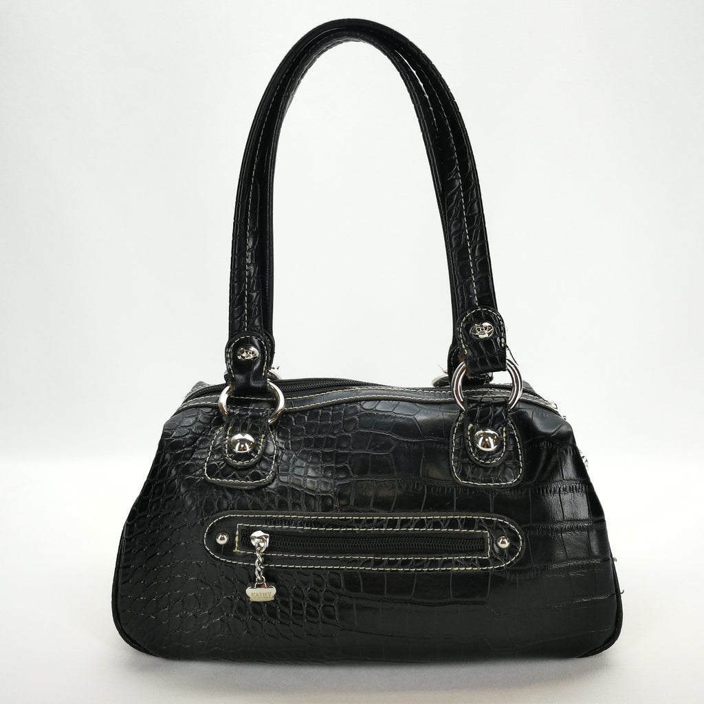 Kathy Van Zeeland Black Croc Print 2 Strap Satchel Purse,Handbag,Kathy Van Zeeland,Around Again Inc