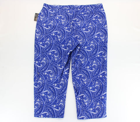 Kim Rogers NEW! Royal Blue Floral Paisley Capri Pants Size 18 - Around Again Inc