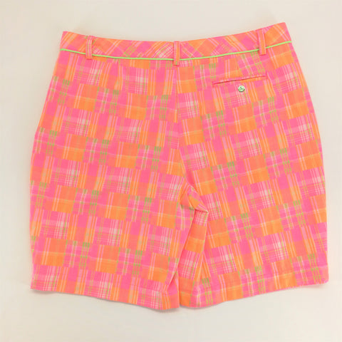 Lady Hagan Peach Pink Lime Plaid Shorts Size 14,Shorts,Lady Hagen,Around Again Inc