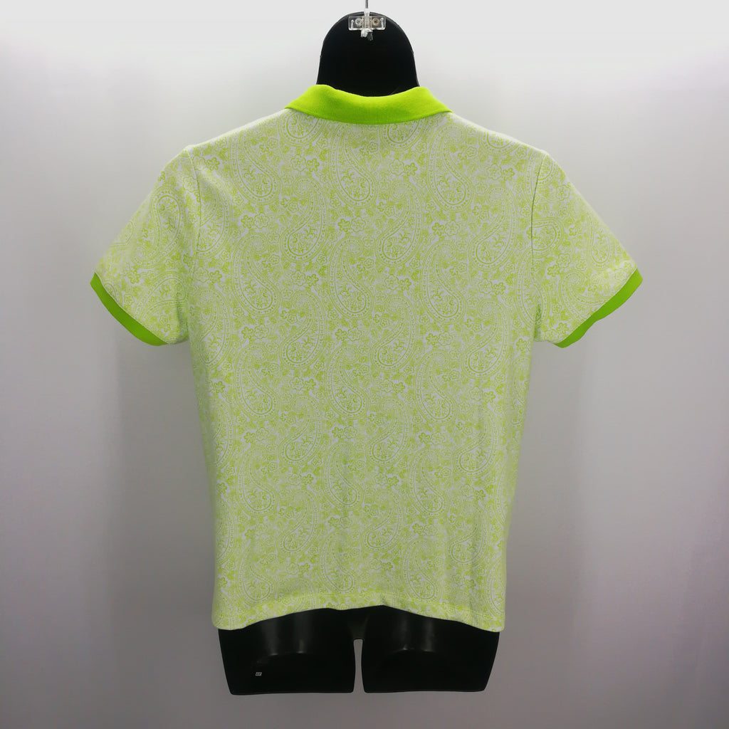 Lands End Vibrant Green Paisley Polo Top Size L (14-16),Tops,Lands' End,Around Again Inc