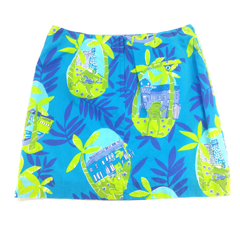 Lilly Pulitzer Turquoise Lime Floral Frog Villa A-Line Skirt Size 12,Skirts,Lilly Pulitzer,Around Again Inc