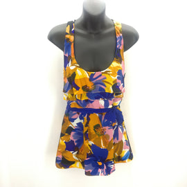 Liquid Royal Blue Pink Floral Layered Tank Top Size 8,Tops,Liquid,Around Again Inc