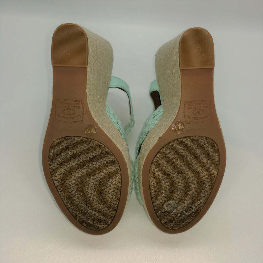 397dc42261b Lucky Brand Mint Green RIDGEVIEW Espadrille Wedge Sandals Size 7 ...
