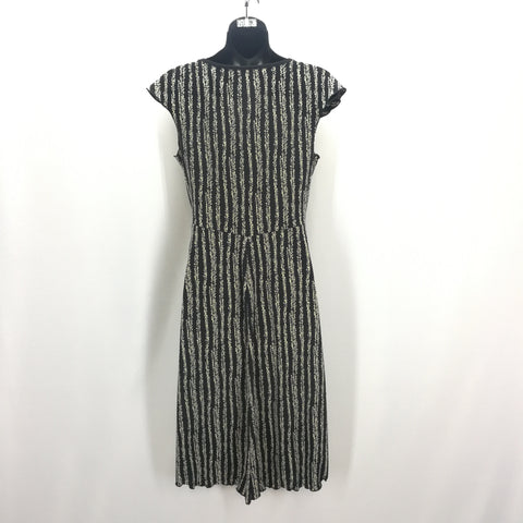 Max Studio Black & Ivory Stripes Vine Patterned Stretch Dress Size Small,Dresses,Max Studio,Around Again Inc