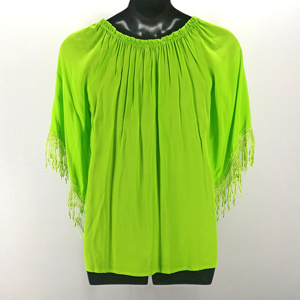 Melissa Paige NEW! Apple Green Lace Fringed Gypsy Top Size Medium,Tops,Melissa Paige,Around Again Inc