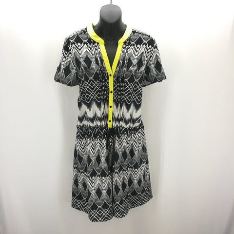 NY Collection Black White Chartreuse Geometric Design Romper Size PL,Dresses,NY Collection,Around Again Inc
