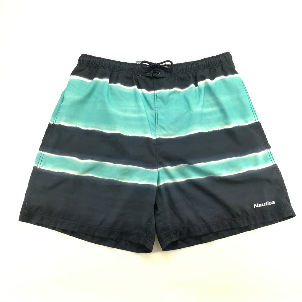 Nautica Teal Navy Striped Swim Trunks Size XXL (2X),Swimwear,Nautica,Around Again Inc