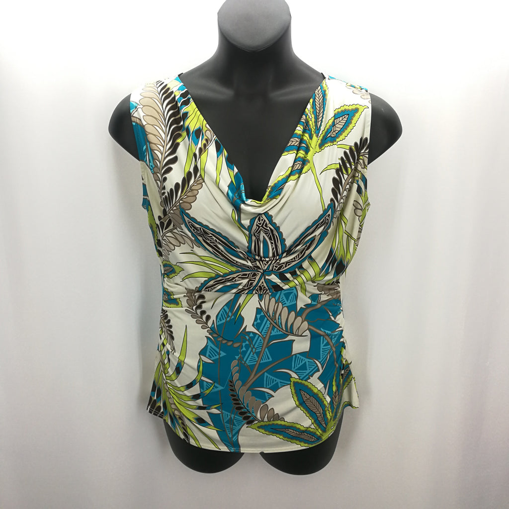 Peck & Peck Lime Aqua Floral Draped Top Size Large,Tops,Peck & Peck,Around Again Inc