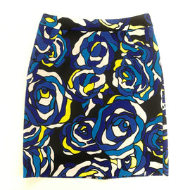 Premise Royal Blue Turquoise Yellow Floral Knit Skirt Size 10,Skirts,Premise,Around Again Inc